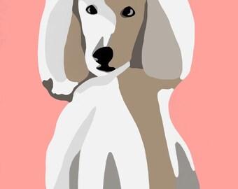 Standard Poodle Dog Digital Portrait