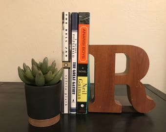 Vintage Wooden Letter, Vintage Bookend, Letter Bookend, Mid Century Bookend, Wooden Bookend, Alphabet Bookend