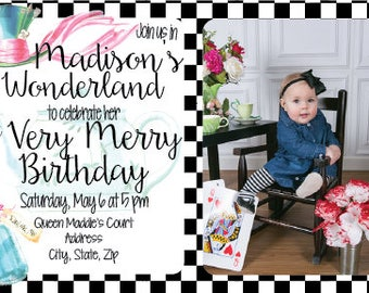 Alice in Wonderland First Birthday Invitation, Checkered Invite, Girl Birthday Party, Mad Hatter, Tea Party