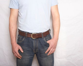 Mens brown leather jeans belt with detachable buckle