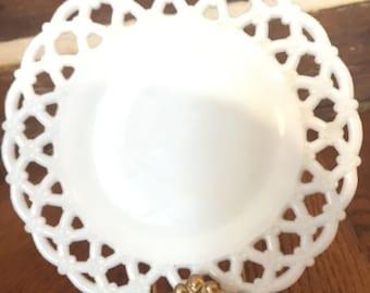 White milk glass plate scalloped edge