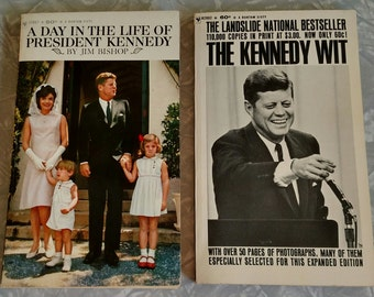 The Kennedy Wit & A Day in the Life of President Kennedy vintage book combo--both 1960's era paperbacks! Great Condition!