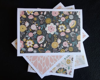 Pink Floral Note Card Set, Blank