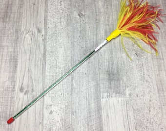 Cat toy | Luxurious ostrich feathers cat teaser wand toy | Feather cat toy | Indoor cat toy | Red and yellow cat toy