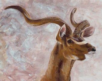 PRINT || African art, kudu, Deer painting, antelope painting, african print, african painting, wildlife painting, acrylic paint, kenya