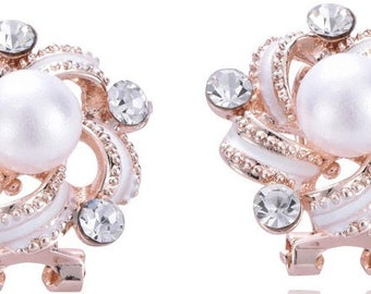 Bridal Wedding Gold Plated Crystal Jewelry Pearl Stud Earrings