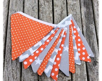 Grey and orange bunting, home decor, nursery decor, baby shower, birthday gift, newborn gift