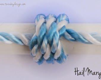 Rosary Twine Strand - Light Blue/White