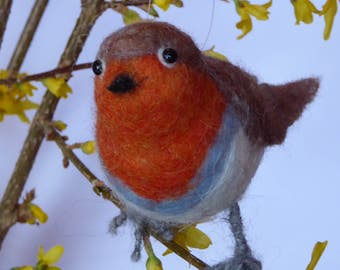 Robin, bird, sitting, decoration, felt