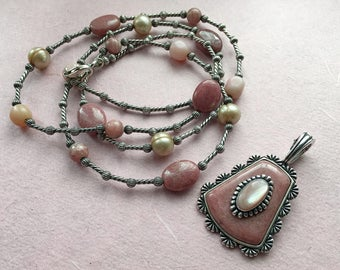 Beautiful South Western Sterling Silver pendant and necklace with semi-precious gemstones