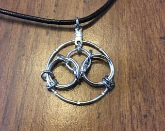 Tri Circular Pendant Necklace