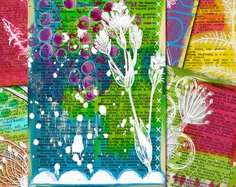 Digital collage sheet. 6 Handdrawn mixed media journal backgrounds