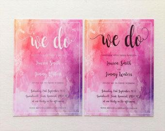 Watercolour wedding invitations wedding stationery tye dye wedding