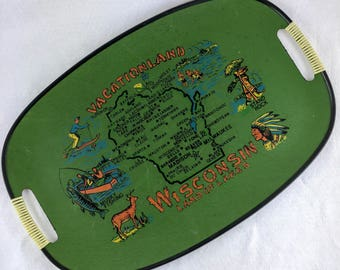 Vintage Wisconsin State Serving Tray