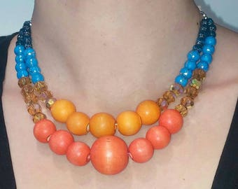 Orange and Blue Retro inspired double strand Necklace