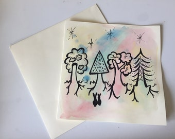 Rabbits in Forest card  // Unique Watercolour Card // Birthday Card // Anniversary Card // Valentine's Card // Wedding Card // Easter