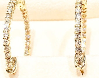 Gold and Diamond in and out hoop earrings