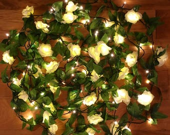 100 LED Rose ivy fairy light garland, ivy garland, rose garland, rose fairy lights, wedding fairy lights