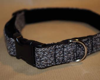 Grey hand made dog collar