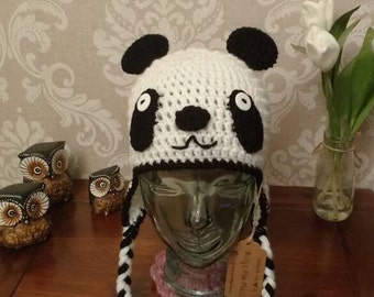 Kids crochet panda hat age 3-10yrs