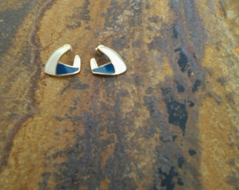 Vintage Monet Blue and White Pierced Earrings