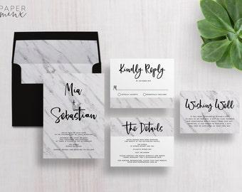 Wedding Invitation | Wedding Invitation Suite | Marble Invitation | Calligraphy Invitation | Modern Marble Printed Wedding Suite | Mia