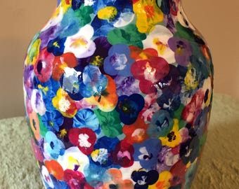"""Handpainted 7"""" Pansy Vase in Unicorn SPiT"""