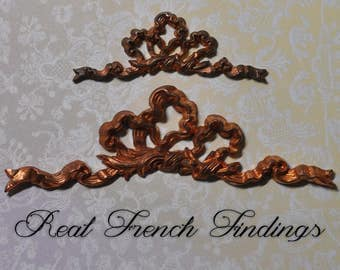 Vintage French Louis XV Quinze Rococo Ornate Ribbon Bow Brass Stamping or Die Casting 178J 306J
