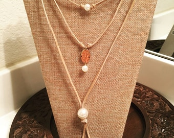 Leather and pearl wrap around necklace