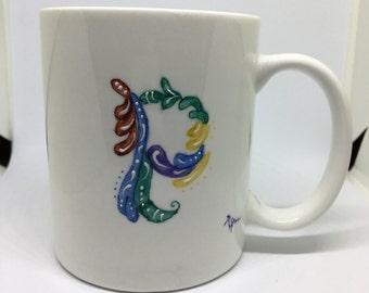 """Handpainted Textured """"P"""" Mug"""