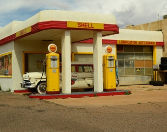 Western Photography SD Photo > Vintage Shell Gas Station in Lowell AZ Vtg Pumps 50's Ford Station Wagon Auto Car Collectors