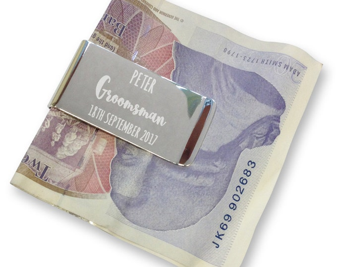 Personalised engraved groomsman MONEY CLIP wedding gift, thank you - silver plated  - AM3