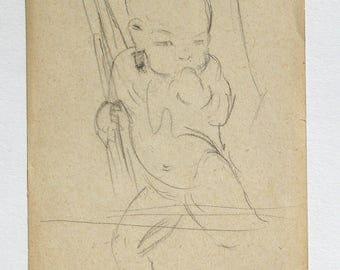 TIBET.  (Tibetan child) Original pencil sketch (no2) . Mabel Allington Royds. English artist/printmaker. 1916. Another listed.