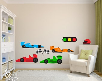 Fabric Wall Decal Set For Boyu0027s Nursery And Kids Rooms   Race Cars Room  Wall Decor