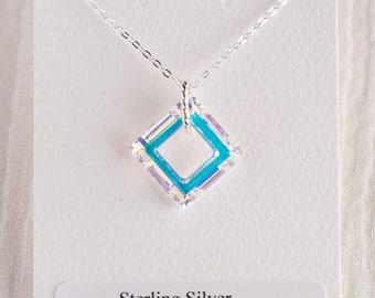 Sterling Silver Aurora Borealis Square Swarovski Crystal Necklace