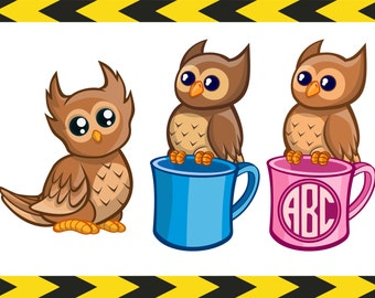 Owl monogram SVG Clipart Vector SVG files for Cricut Silhouette cameo PNG Nursery wall art prints