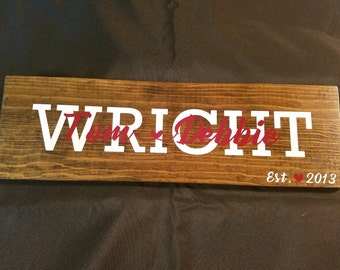 Personalized wood signs with vinyl. A unique wedding gift, anniversary gift or housewarming gift. A custom gift.
