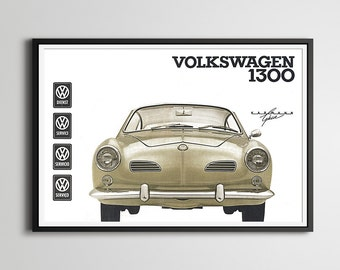 "Volkswagen Karmann Ghia POSTER! - 24"" x 36"" - 1964 VW - Vintage Cars - Custom Prints - Various Sizes - Owner's Manual Cover"