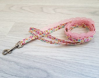 unique pink yellow floral dog puppy leash lead
