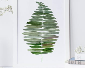 Fern leaf art in watercolor, Botanical print fern painting, Leaf art print of fern, Tropical leaves printable wall art, Fern painting