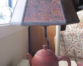 Clay Teapot Lamp with Mica Shade from Sue Johnson Custom Lamps