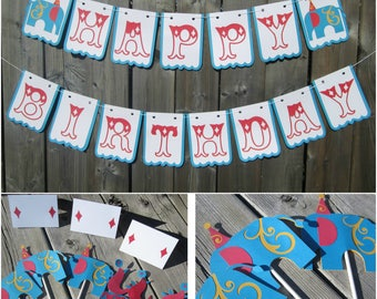 Carnival theme banner, Happy Birthday banner, circus theme, carnival banner, kids party decoration, Carnival Theme Party