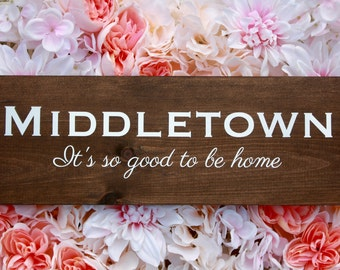 Custom Home Town Wood Sign- It's so good to be home