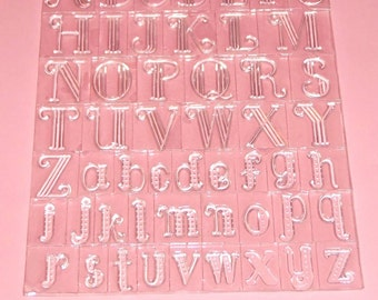 Sandy Clough Clear Acrylic Upper & Lower Case Alphabet Stamp Set New