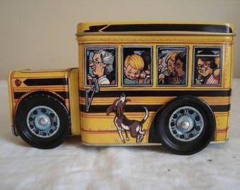 SALE Vintage Tin School Bus Coin Bank Yellow School Bus Lino Tin Toy Bank schoolbus