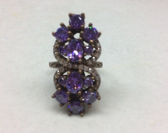 Sterling Silver 925 Ring with Brass and CZ Stones with Purple Crystals