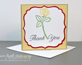 Stationery Set of 5 Thank You Greeting Cards-  Cricut Greeting Card Set of 5 Yellow Rose Thank You- havefaithstationery