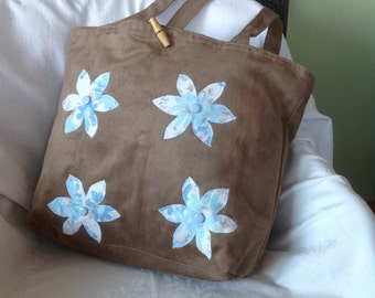 Brown Suede Effect Bag With Appliqué Blue Flowers