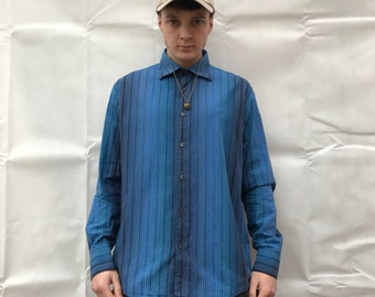 VINTAGE authentic genuine real VERSACE Blue Striped Down Long Sleeve SHIRT. Size Large.
