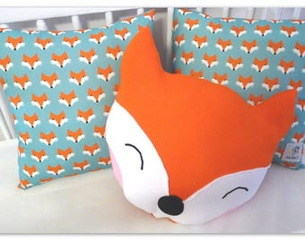 Fox Pillow, Animal Pillow,  Nurcery Pillow, Kids Room Decor, Kids Pillow, Orange Pillow, Kids Decor, Fox Cushion, Baby Cushion